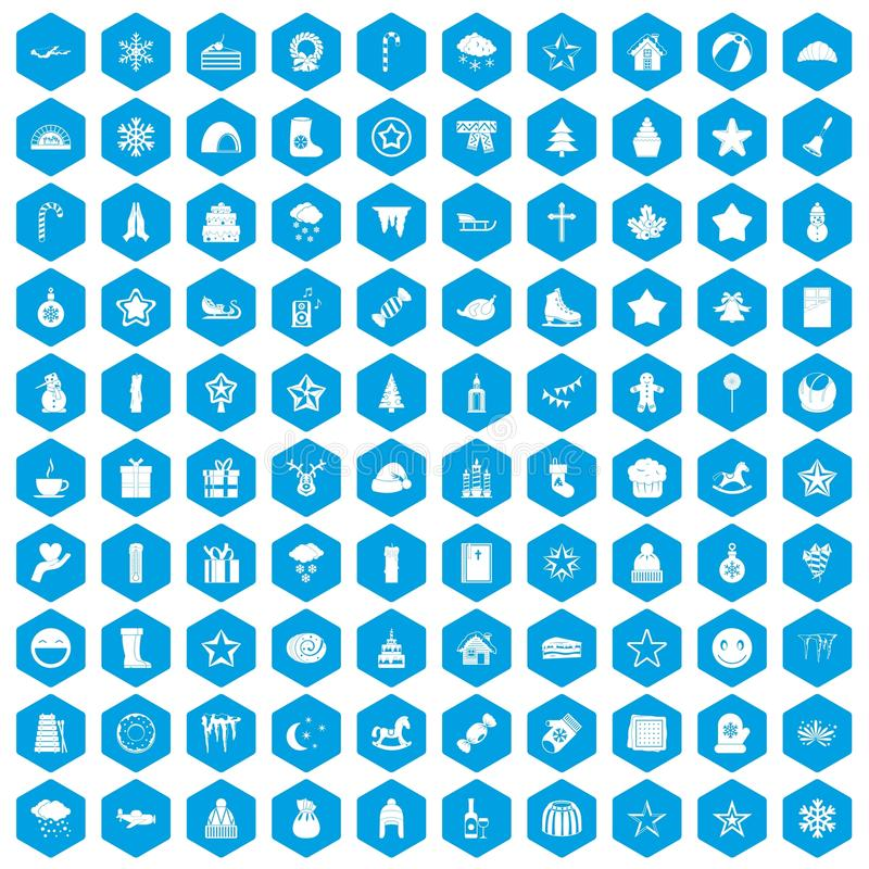 100 ícones do Natal ajustados azuis ilustração do vetor