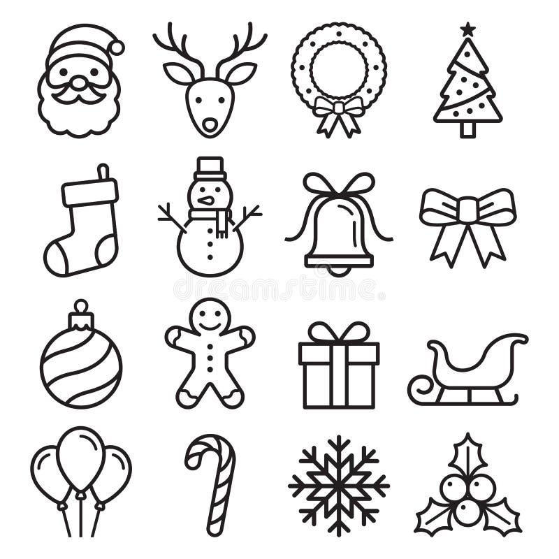 Ícones do Natal ajustados Graphhics do vetor ilustração do vetor