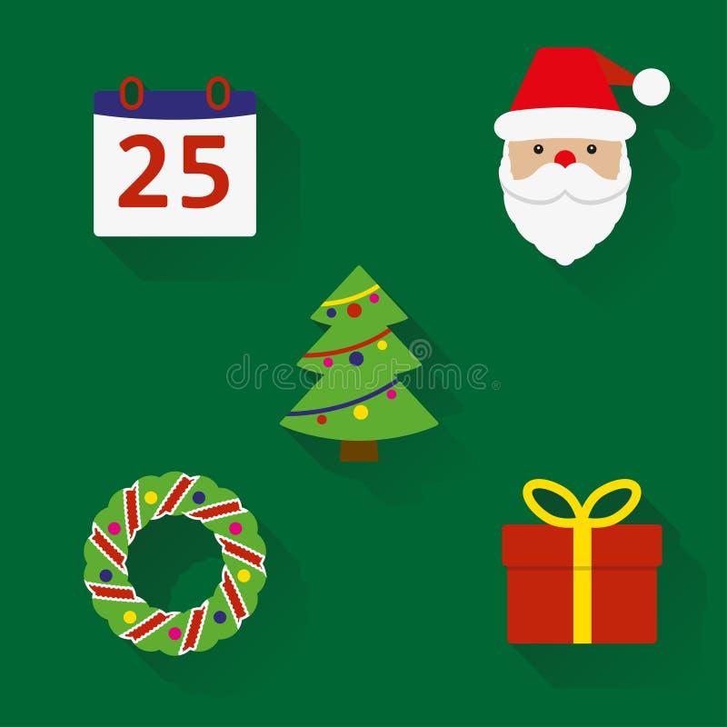 Ícones do Natal ajustados Símbolos do ano novo e do Natal no estilo liso com sombra longa Ilustração colorida do vetor ilustração royalty free