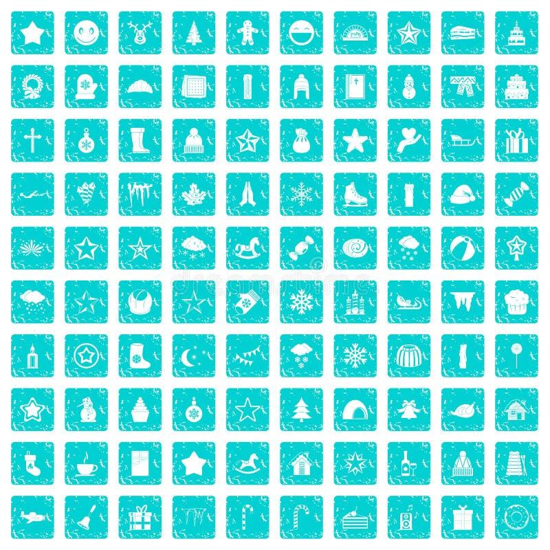 100 ícones do Natal ajustaram o grunge azul ilustração stock