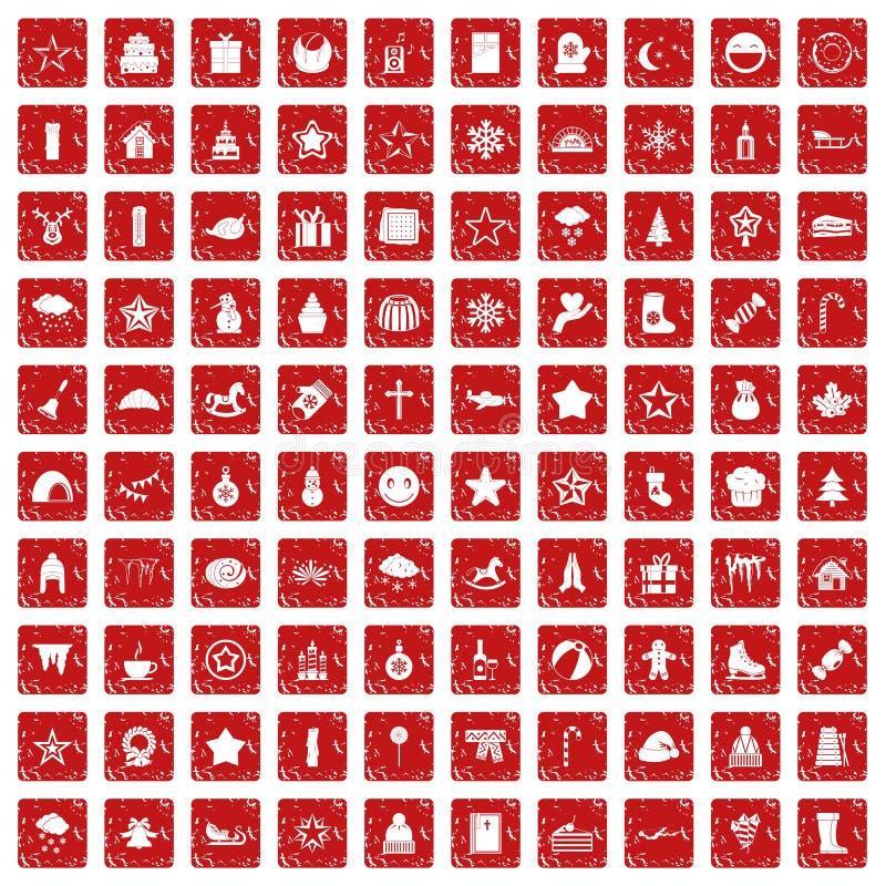 100 ícones do Natal ajustaram o grunge vermelho ilustração do vetor