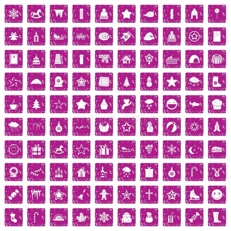100 ícones do Natal ajustaram o rosa do grunge ilustração do vetor