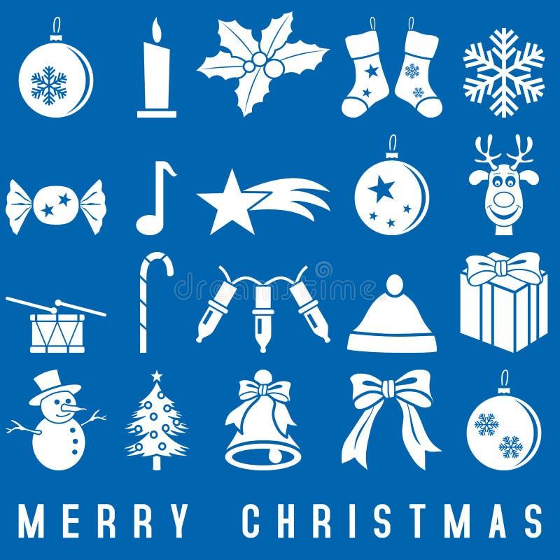 Ícones do Natal branco ilustração royalty free
