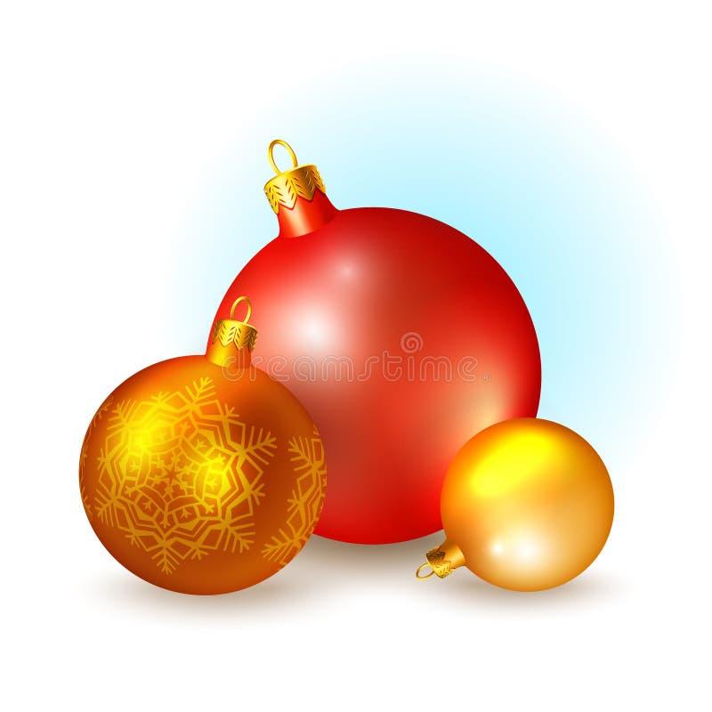 Ícones do Natal com bolas ilustração stock