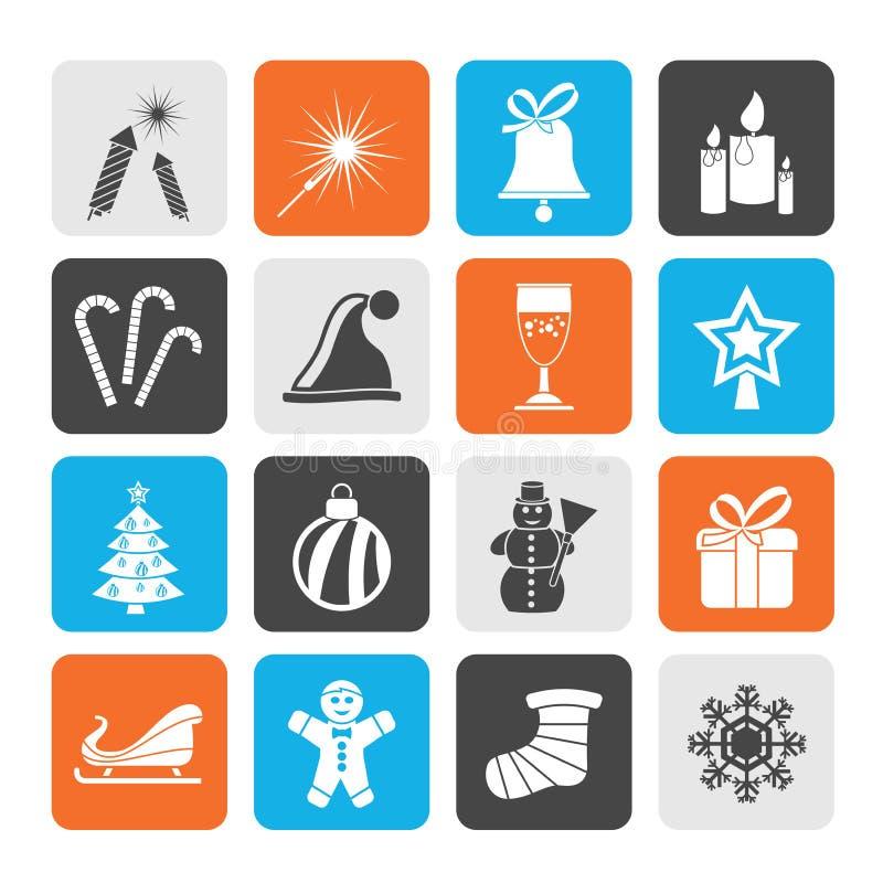 Ícones do Natal da silhueta e do ano novo ilustração stock