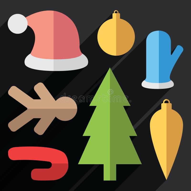 Ícones do Natal do vetor ilustração do vetor