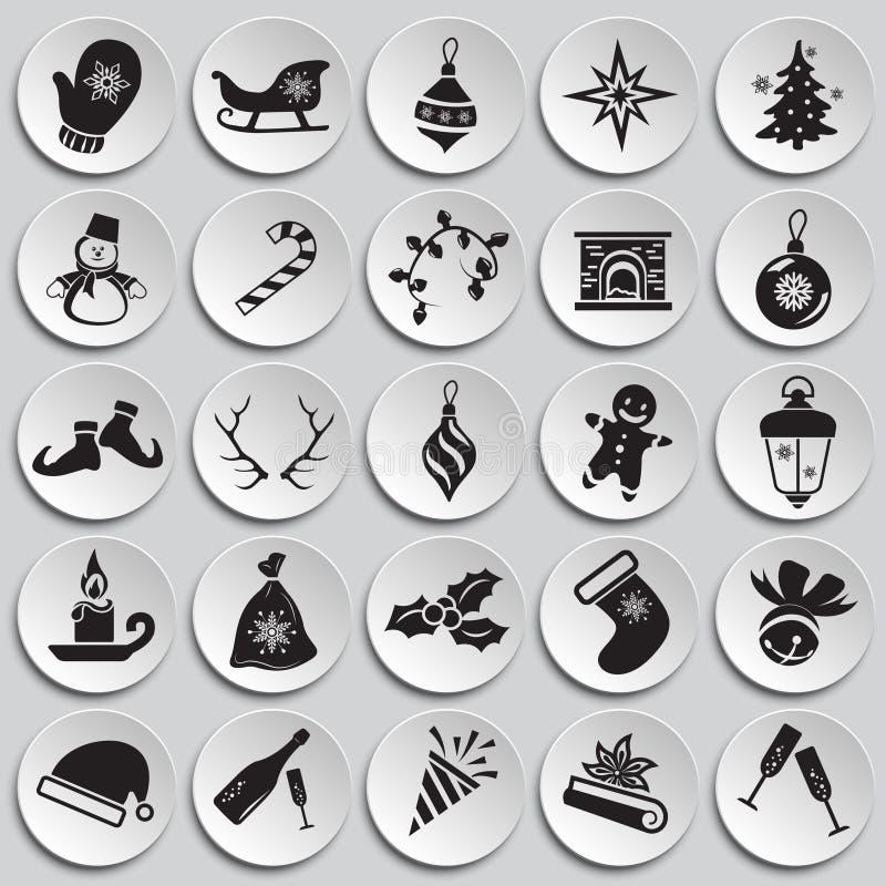 Ícones do Natal e do ano novo no fundo das placas ilustração do vetor