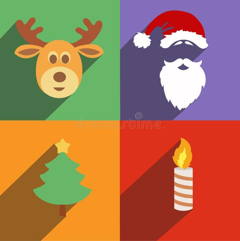 Ícones do Natal e do ano novo ajustados de ilustração royalty free