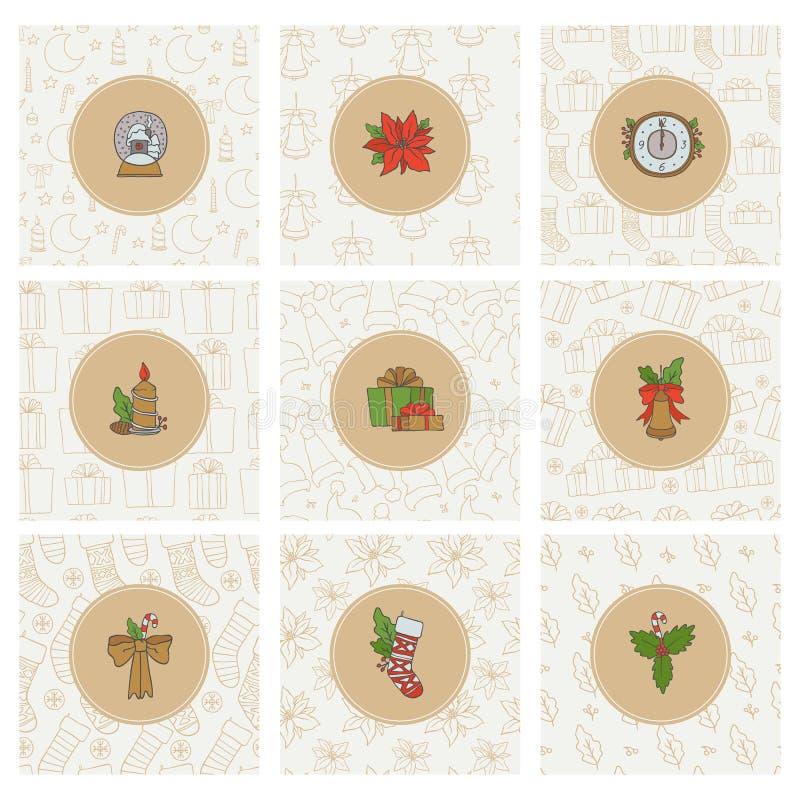 Ícones do Natal e do ouro do ano novo e testes padrões sem emenda Fundos redondos ajustados do feriado das etiquetas do vetor com ilustração do vetor