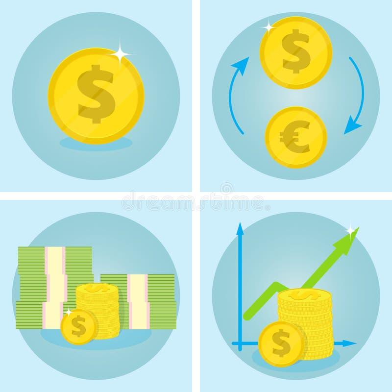 Ícones do negócio Ícone do vetor do dólar Dólares da troca para euro Pilha de dinheiro ilustração do vetor