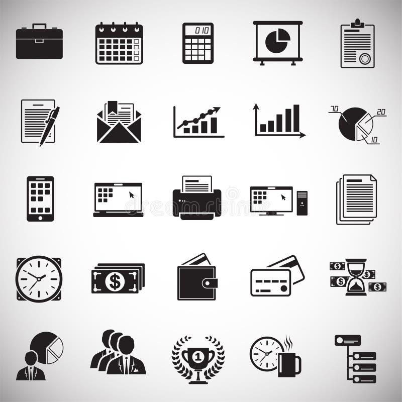 Ícones do negócio ajustados no fundo branco para o gráfico e o design web, sinal simples moderno do vetor Conceito do Internet Sí ilustração do vetor