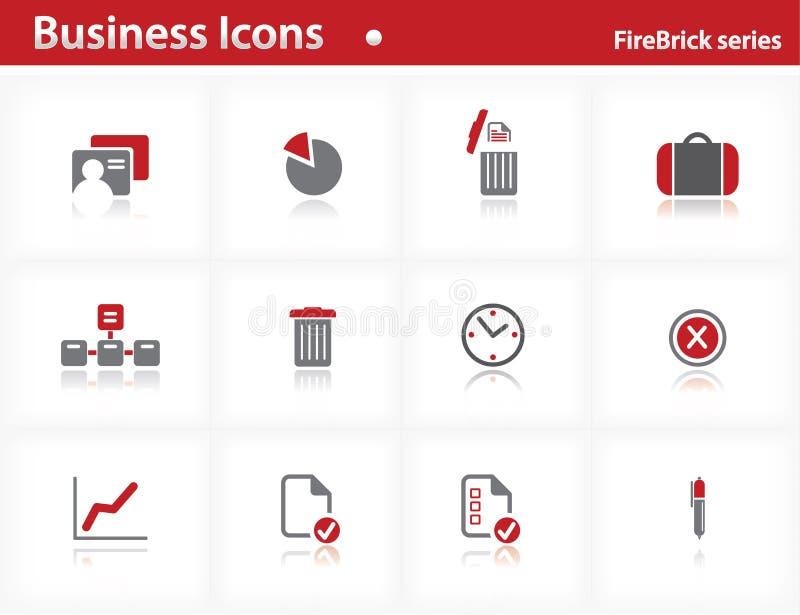 Ícones do negócio ajustados - série do Firebrick ilustração royalty free