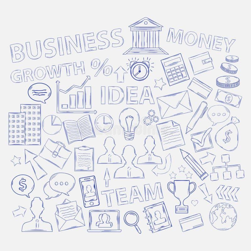 Ícones do negócio da garatuja ilustração stock