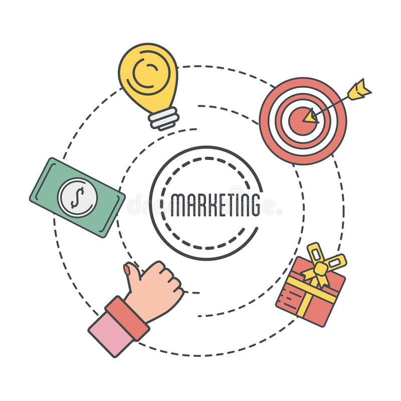 Ícones do negócio de Mearketing com informação incorporada ilustração do vetor