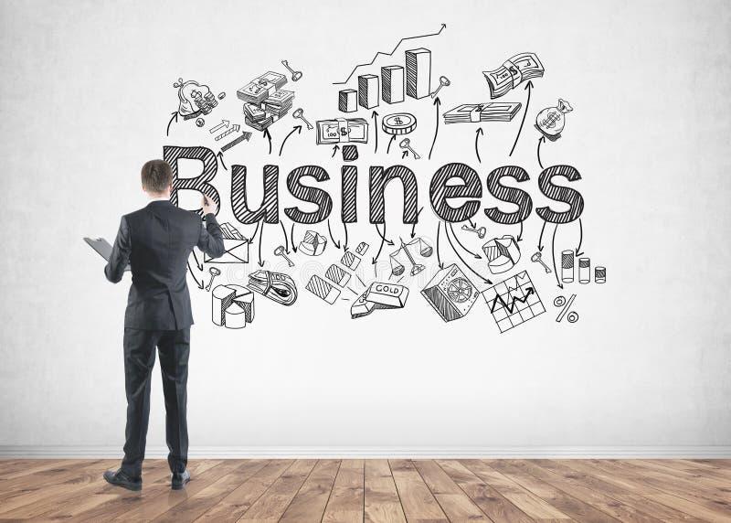 Ícones do negócio do desenho do homem de negócios foto de stock royalty free