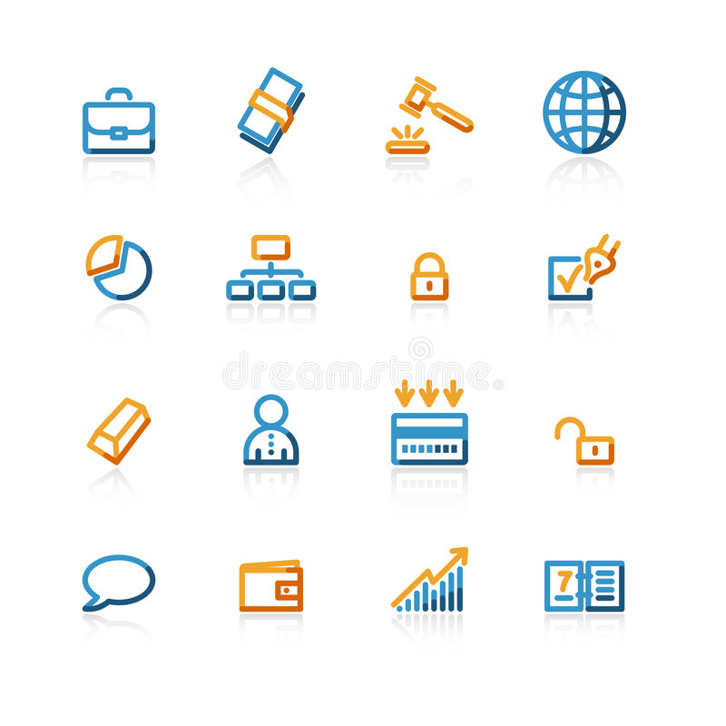 Ícones do negócio do contorno imagens de stock