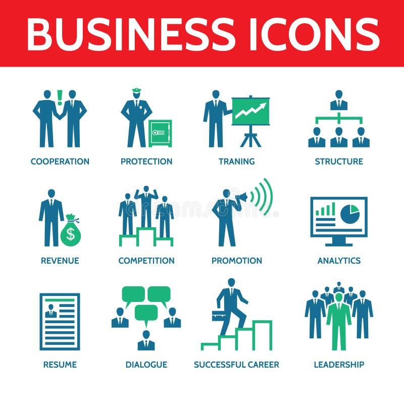 12 ícones do negócio do vetor em cores azuis e verdes