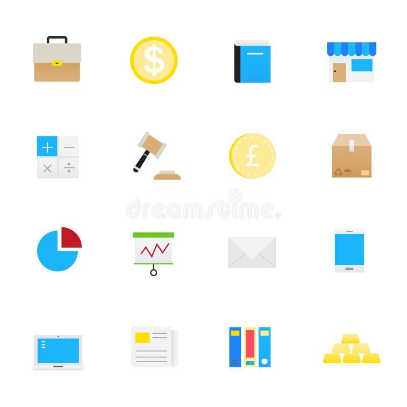 Ícones do negócio e da finança Grupo de estilo liso dos ícones da ilustração do vetor do negócio e da finança ilustração do vetor