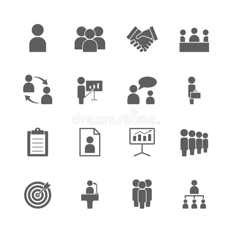 Ícones do negócio e da gestão ajustados ilustração stock