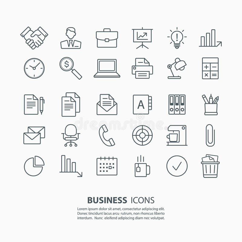 Ícones do negócio e do escritório do esboço ajustados ilustração stock