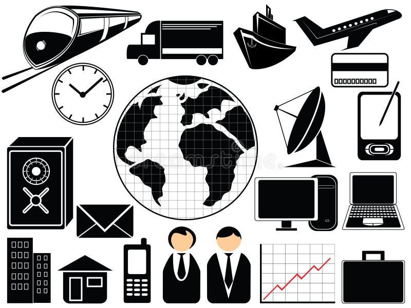 Ícones do negócio e do transporte ilustração stock