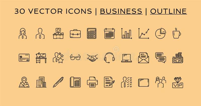 30 ícones do negócio esboçam o estilo imagem de stock