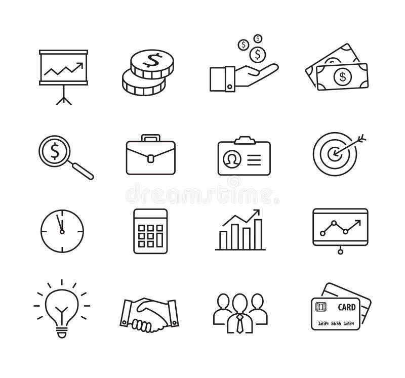 Ícones do negócio - produtividade, gestão, linhas estilo finas ilustração do vetor
