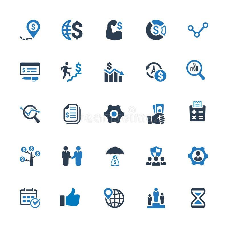 Ícones do negócio - a série azul ajustou 1 ilustração stock