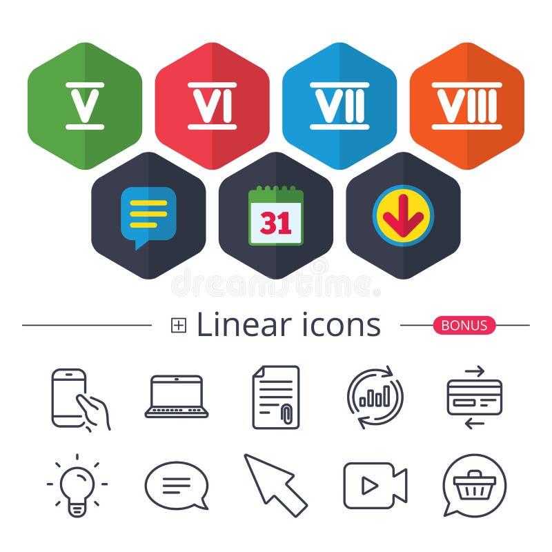 Ícones do numeral romano Número cinco, seis, sete ilustração royalty free