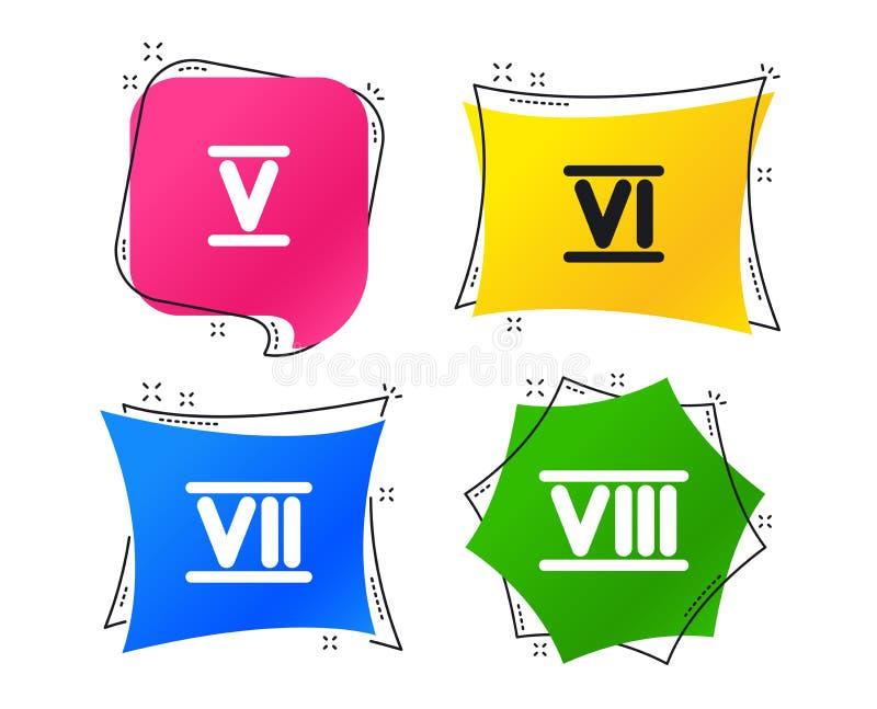 Ícones do numeral romano Número cinco, seis, sete Vetor ilustração royalty free