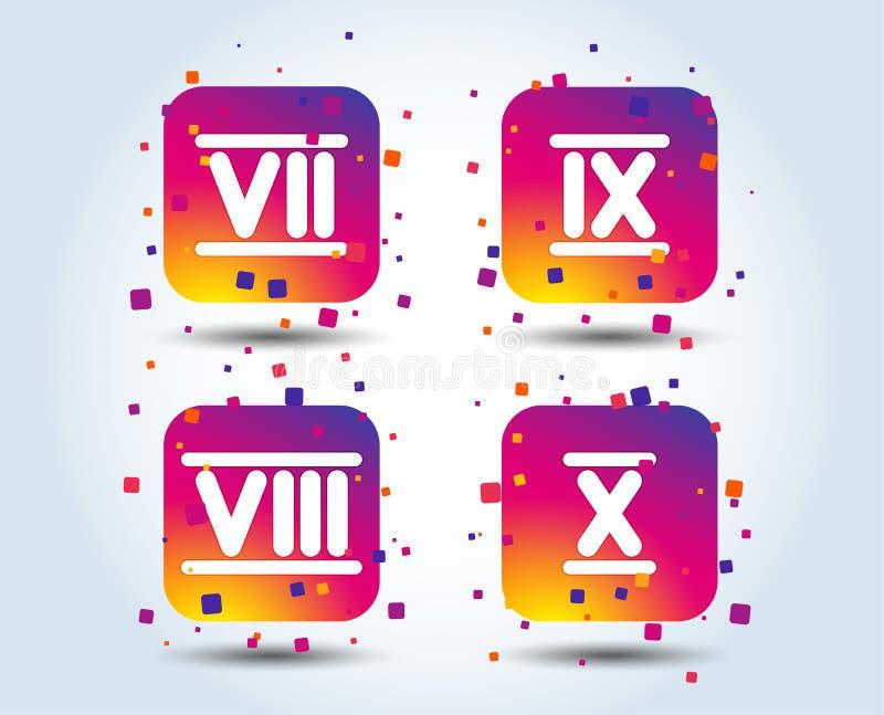 Ícones do numeral romano Número sete, nove, dez ilustração do vetor