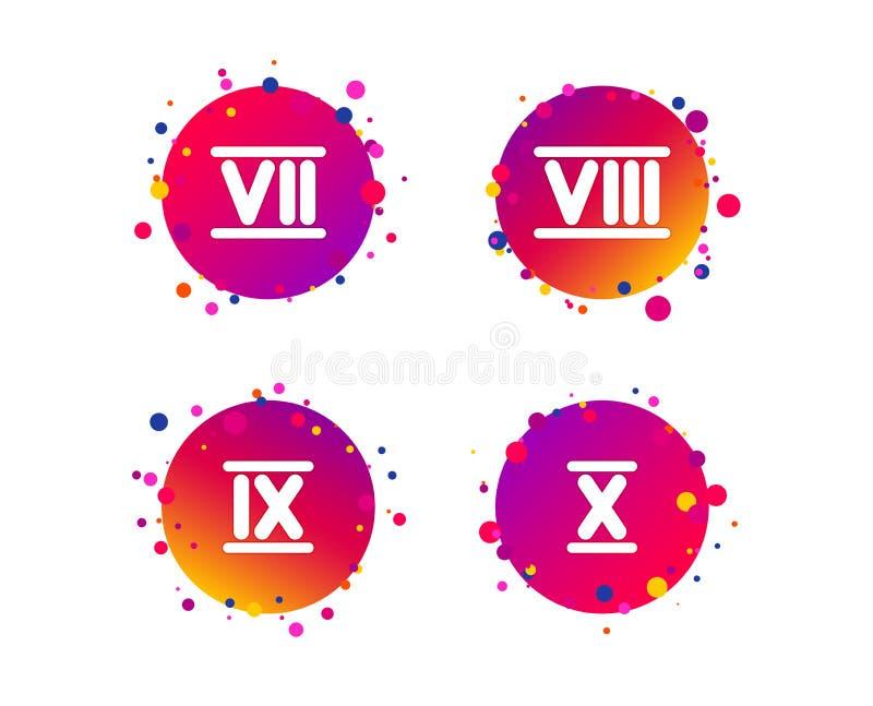 Ícones do numeral romano Número sete, nove, dez Vetor ilustração do vetor
