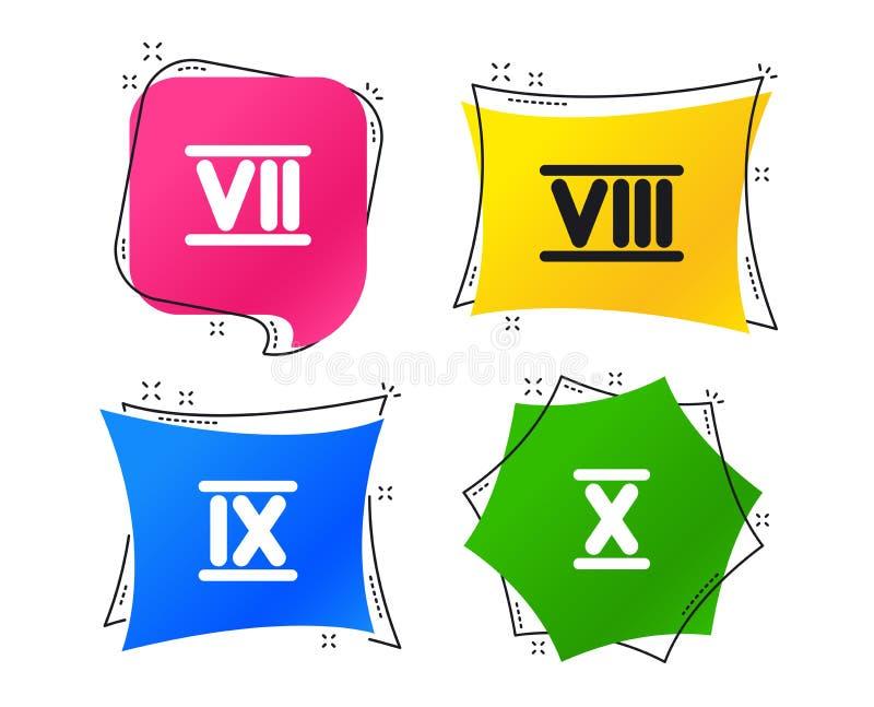 Ícones do numeral romano Número sete, nove, dez Vetor ilustração stock