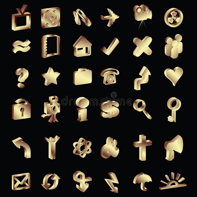 ícones do ouro 3D ajustados ilustração royalty free