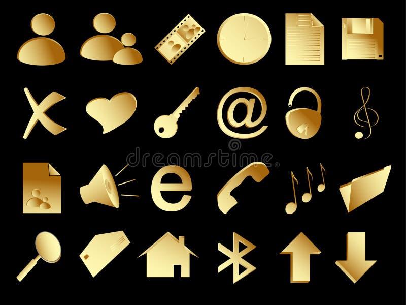 Ícones do ouro ajustados no preto ilustração stock