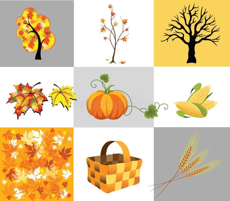 Ícones do outono ilustração stock
