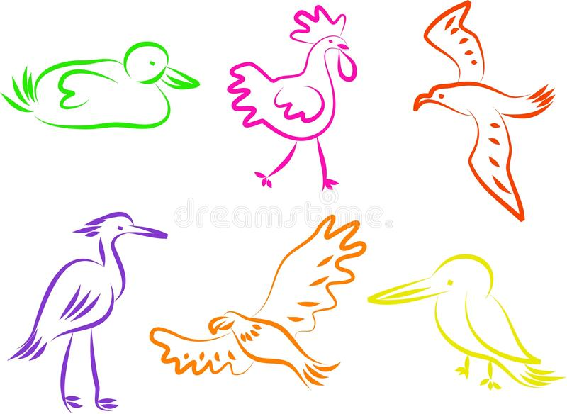 Ícones do pássaro ilustração do vetor
