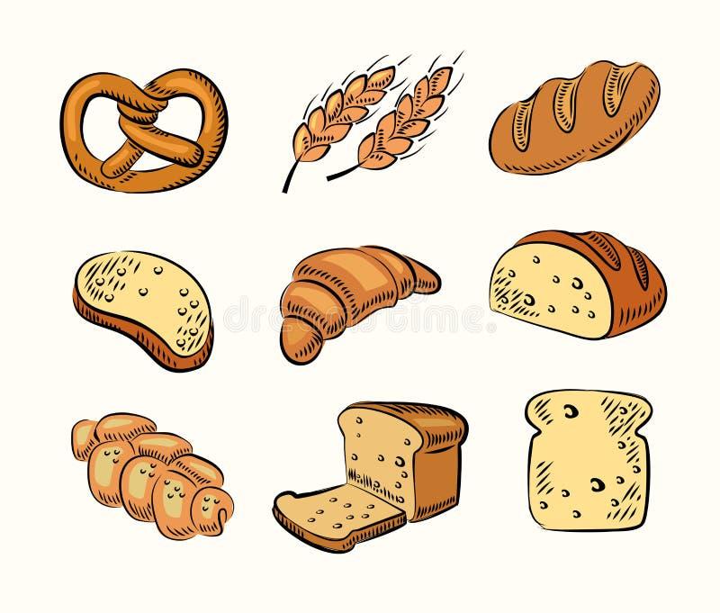 Ícones do pão ilustração do vetor