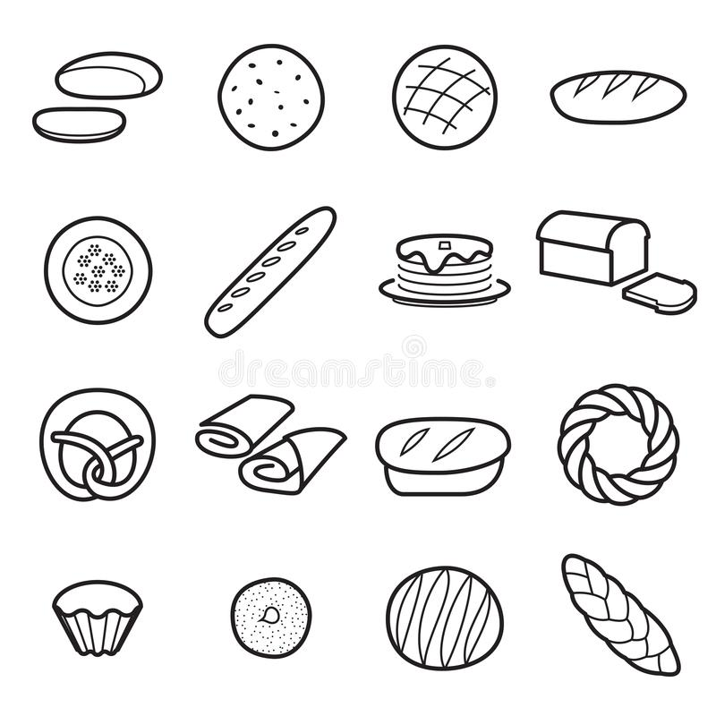Ícones do pão isolados ilustração stock