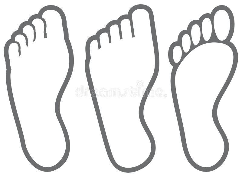 Ícones do pé humano ilustração stock