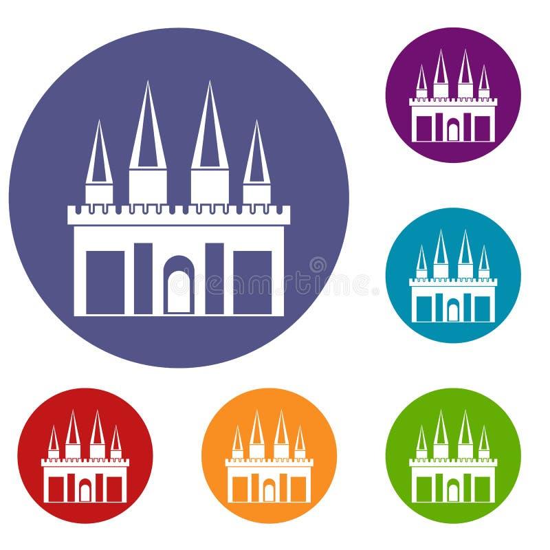 Ícones do palácio do reino ajustados ilustração stock