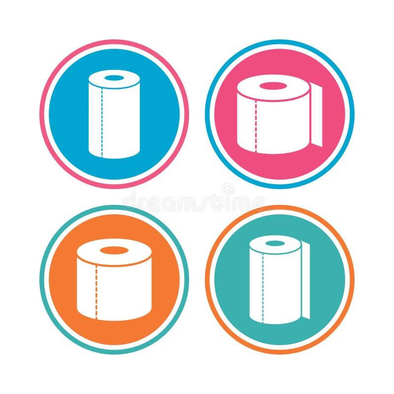 Ícones do papel higiênico Símbolos de toalha do rolo da cozinha ilustração royalty free