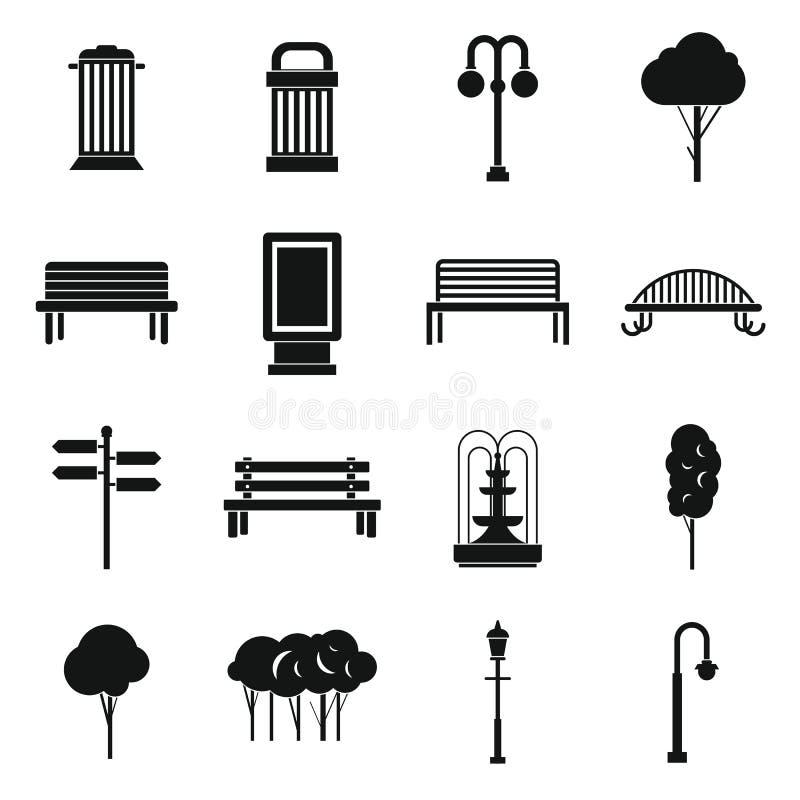Ícones do parque ajustados, simples ilustração do vetor