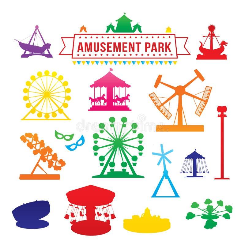 Ícones do parque de diversões ilustração royalty free