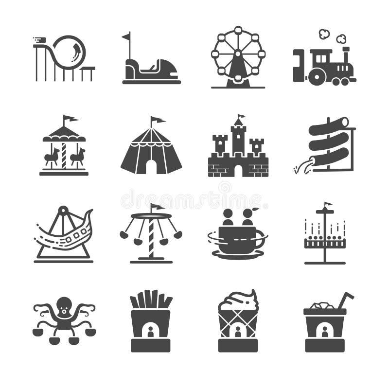 Ícones do parque temático ajustados ilustração stock