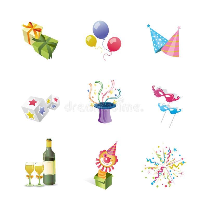 Ícones do partido ilustração royalty free