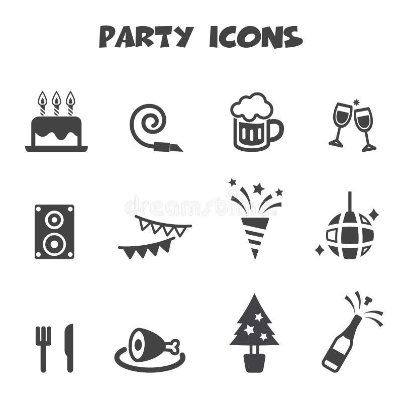 Ícones do partido ilustração stock