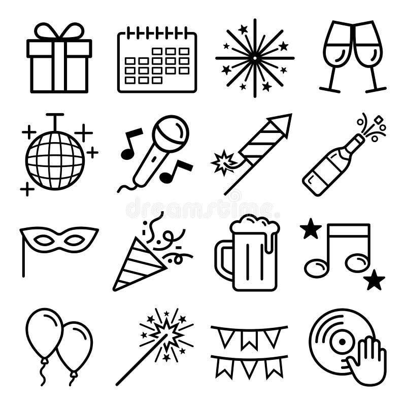 Ícones do partido ajustados Graphhics do vetor ilustração royalty free
