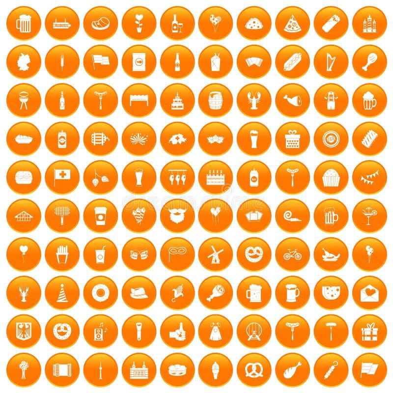 100 ícones do partido da cerveja ajustados alaranjados ilustração royalty free
