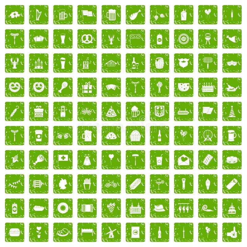 100 ícones do partido da cerveja ajustaram o verde do grunge ilustração stock
